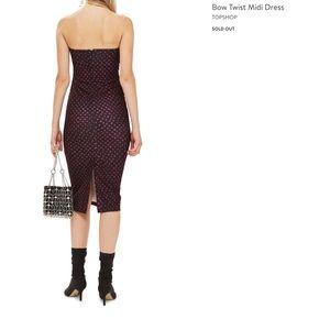 Topshop Midi Dress 6 Black w/ pink